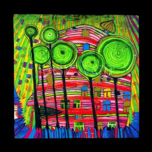 Hundertwasser, Friedensreich - Blobs gro in beloved gardens